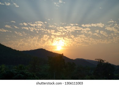 Landsape sunset and mountain.