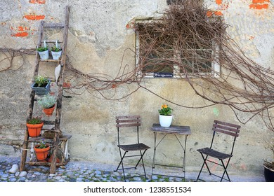 Landsberg, Bayern/Germany - 04 07 2018:  Landmarks of the city Landsberg am Lech Biergarten