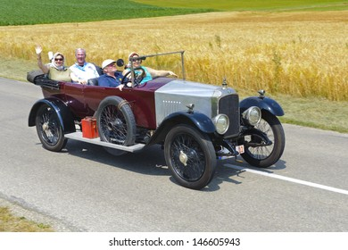 LANDSBERG, GERMANY - JULY 13: Oldtimer rallye for at least 80 years old antique cars with Vauxhall open Tourer D-Type, built at year 1918, photo taken on July 13, 2013 in Landsberg, Germany