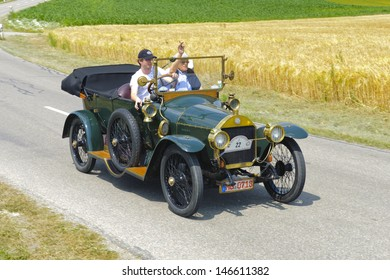 LANDSBERG, GERMANY - JULY 13: Oldtimer rallye for at least 80 years old antique cars withBenz 8/20, built at year 1912, photo taken on July 13, 2013 in Landsberg, Germany