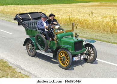 LANDSBERG, GERMANY - JULY 13: Oldtimer rallye for at least 80 years old antique cars withRover 8HP, built at year 1906, photo taken on July 13, 2013 in Landsberg, Germany