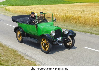 LANDSBERG, GERMANY - JULY 13: Oldtimer rallye for at least 80 years old antique cars with K.R.I.T Touring Car, built at year 1914, photo taken on July 13, 2013 in Landsberg, Germany