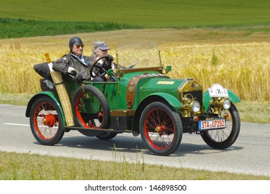 LANDSBERG, GERMANY - JULY 13: Oldtimer rallye for at least 80 years old antique cars with Swift Cycle Car, built at year 1914, photo taken on July 13, 2013 in Landsberg, Germany