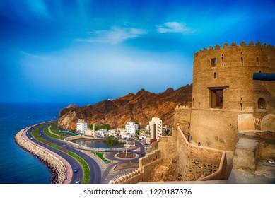 Landscap of Mutrah Corniche in Muscat, Oman