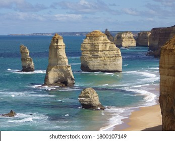 landscape of 12 apostles with blue sea and sky victoria australia. limestone erosion cliffs.great ocean road.