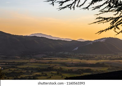 Landscape of Abruzzo at sunset, Italy