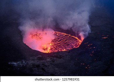 Landscape with active volcano Nyiragongo in Congo