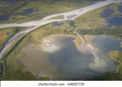 Landscape aerial photo from Skierfe top Sarek national park Sweden