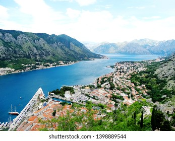 Landscape and aerial view of Kotor bay in Montenegro, a coastal town located in a secluded of theGulf of Kotor. It has one of the best preserved medieval old towns and is a Unesco World Heritage Site