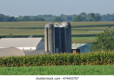 Landscape of agriculture farm with silo in rural Lancaster Pennsylvania