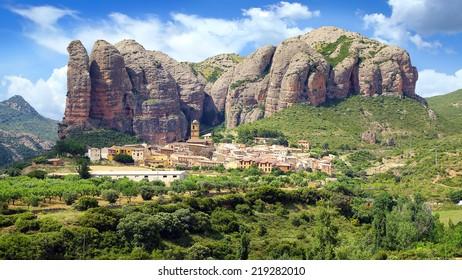 Landscape with Aguero Mountains, Huesca, Aragon, Spain
