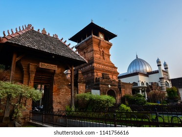 Landscape of Al Aqsa Mosque Manarat Qudus (Mosque of Kudus Tower) located in Kudus, Central Java, Indonesia when the morning with clear sky
