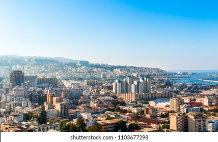 Landscape of Algiers city from Maqam Echahid monument , Algeria - may 22, 2018