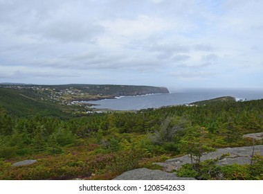 landscape along the Killick Coast, high angle view  from  Beamer Rock towards the bay and village of Flatrock, East Coast trail Avalon Peninsula; Newfoundland Canada