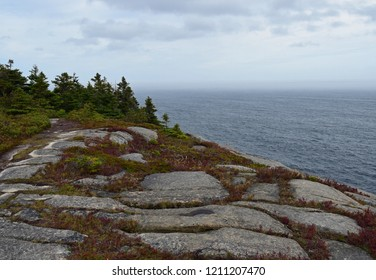 landscape along the Killick Coast, high angle view  along the Beamer Rock seen from the Father's Trail Path, East Coast trail Avalon Peninsula; Newfoundland Canada