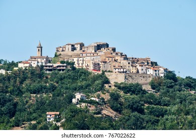 Landscape along the road from Teramo to Penne (Abruzzi, Italy) at summer. View of historic town