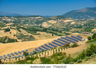 Landscape along the road from Teramo to Penne (Abruzzi, Italy) at summer with solar panels
