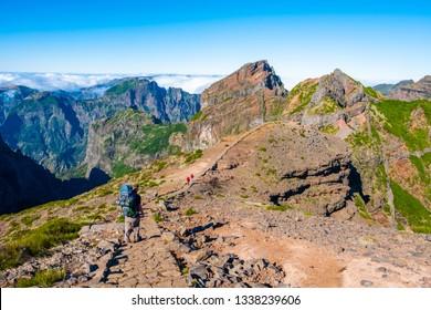 Landscape along the trekking betweek Pico do Arieiro and Pico Ruivo, inland Madeira island
