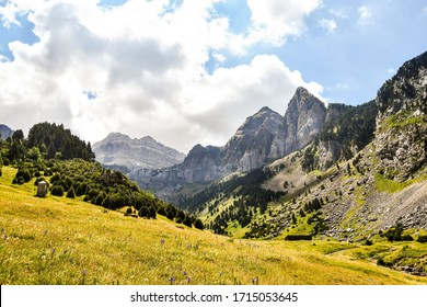 landscape in the alps, photo as a background, photo as a background , in the European Border between spain and france in the pyrenees