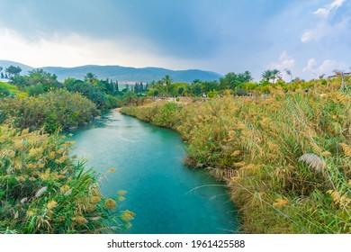 Landscape of the Amal stream in Gan HaShlosha National Park (Sakhne), in the Bet Shean Valley, Northern Israel