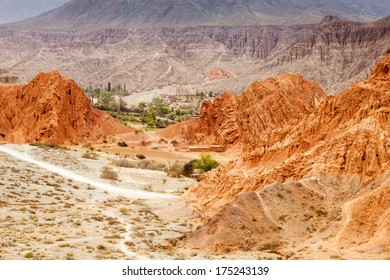 Landscape of the amazing colorful red rocks in the argentinian desert near Salta, in Purmamarca