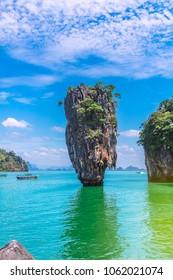 Landscape of amazing nature island, James bond  island, Landmark of Andaman sea, Famous place for traveler, near Phuket, Phang Nga bay, Travel natural adventure in Thailand, Beautiful destination Asia