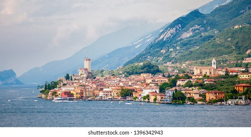 landscape with an ancient castle in old town of Malcesine on Garda Lake, Italy