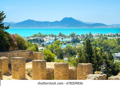 Landscape with ancient ruins of Carthage. Tunis, Tunisia, Africa