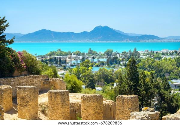 Landschaft mit alten Ruinen von Karthago. Tunesien, Afrika