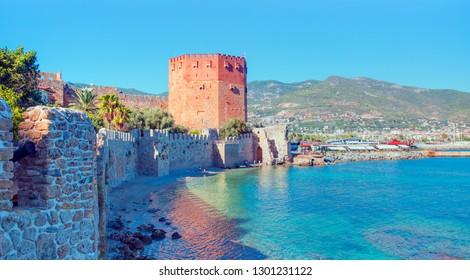 Landscape of ancient shipyard near of Kizil Kule tower - Alanya peninsula, Turkey
