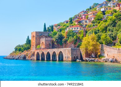 Landscape of ancient shipyard near of Kizil Kule tower in Alanya peninsula, Antalya district, Turkey