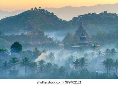 landscape of ancientpagodas at twilight in Mrauk-U, Myanmar.