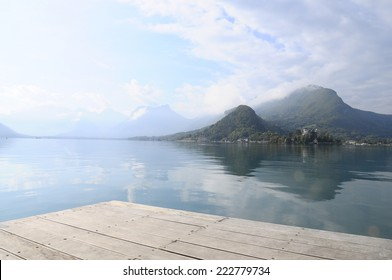 Landscape of Annecy lake and mountains in Savoy, France