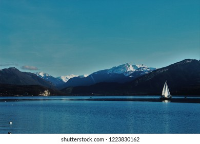 Landscape in Annecy, mountains, lagoon, blue
