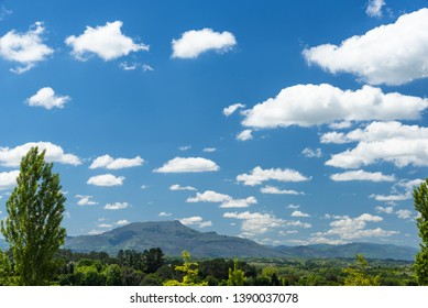 Landscape in Arcangues with the Rhune mountain and a tree in the foreground and a blue sky with white clouds. Basque country of France.