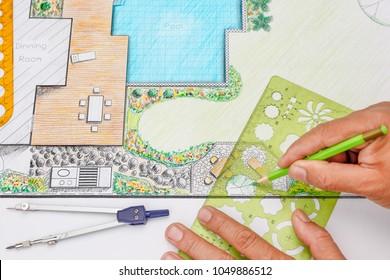 Landscape architect design backyard patio plan for villa