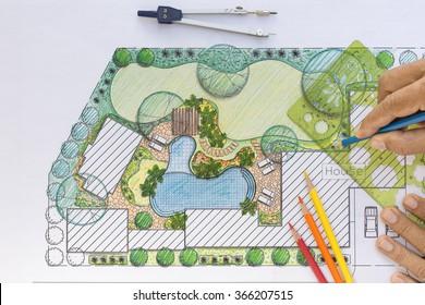 Landscape Design Plans Backyard landscape design images, stock photos & vectors | shutterstock
