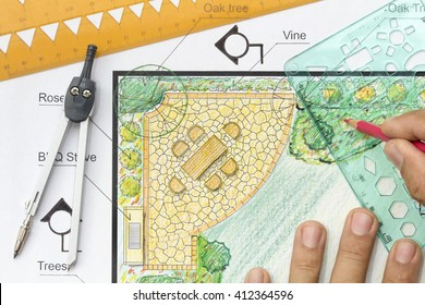 Landscape architect design garden plan.