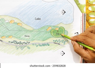 Landscape architect design golf course plan.