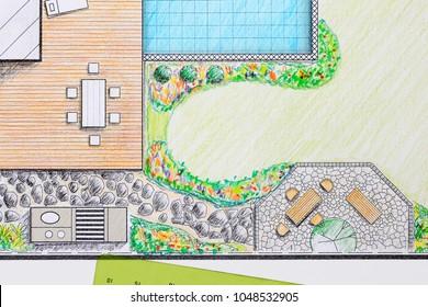 Landscape architect design patio backyard plan for villa