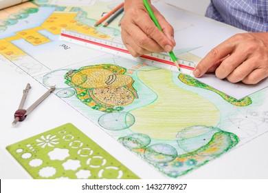 Landschaftsarchitekt Design-Steinpatio im Garten-Plan