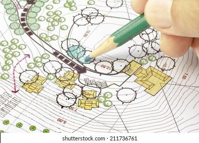 Landscape Architect Designing on site analysis plan