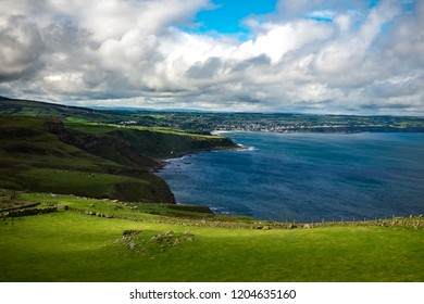 Landscape around Fair head trail. One of the famous attraction in country of antrim near ballycastle, Northern Ireland, United Kingdom