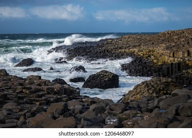 Landscape around Giant's Causeway, A UNESCO world heritage site.It is located in County Antrim on the north coast of Northern Ireland, United Kingdom.