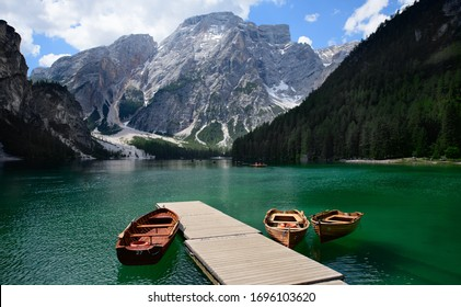 the landscape around Lago di Braies tourist destination