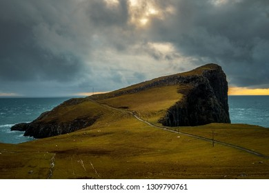 The Landscape around Neist Point Lighthouse, one of the most famous attraction in Isle of Skye, Scotland, United Kingdom