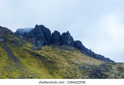 The landscape around the Old Man of Storr and the Storr cliffs, the famous attraction in Isle of Skye, Scotland, United Kingdom