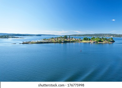 Landscape around the Oslo Fjord on a beautiful sunny summer day