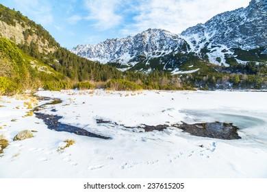A landscape around Popradske Pleso in winter scenery in Tatra Mountains, Slovakia