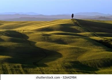 Landscape around Siena called Crete Senesi Siena Tuscany Italy